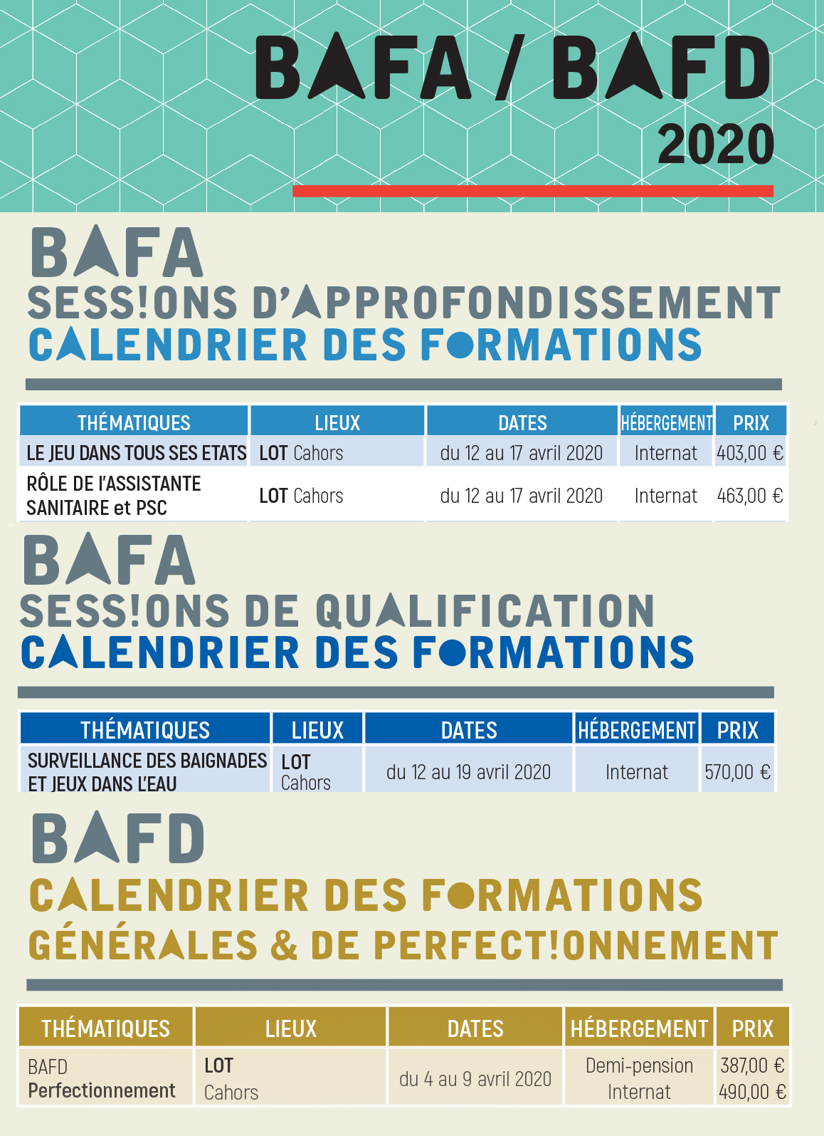dates BAFA BAFD dispo avril 2020